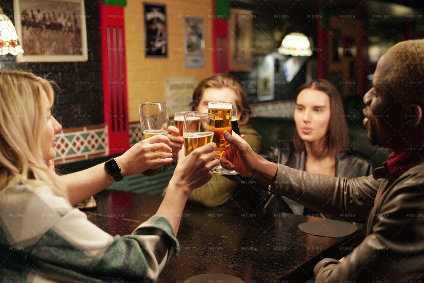 Friends Drinking Beer During Meeting: Stock Photos