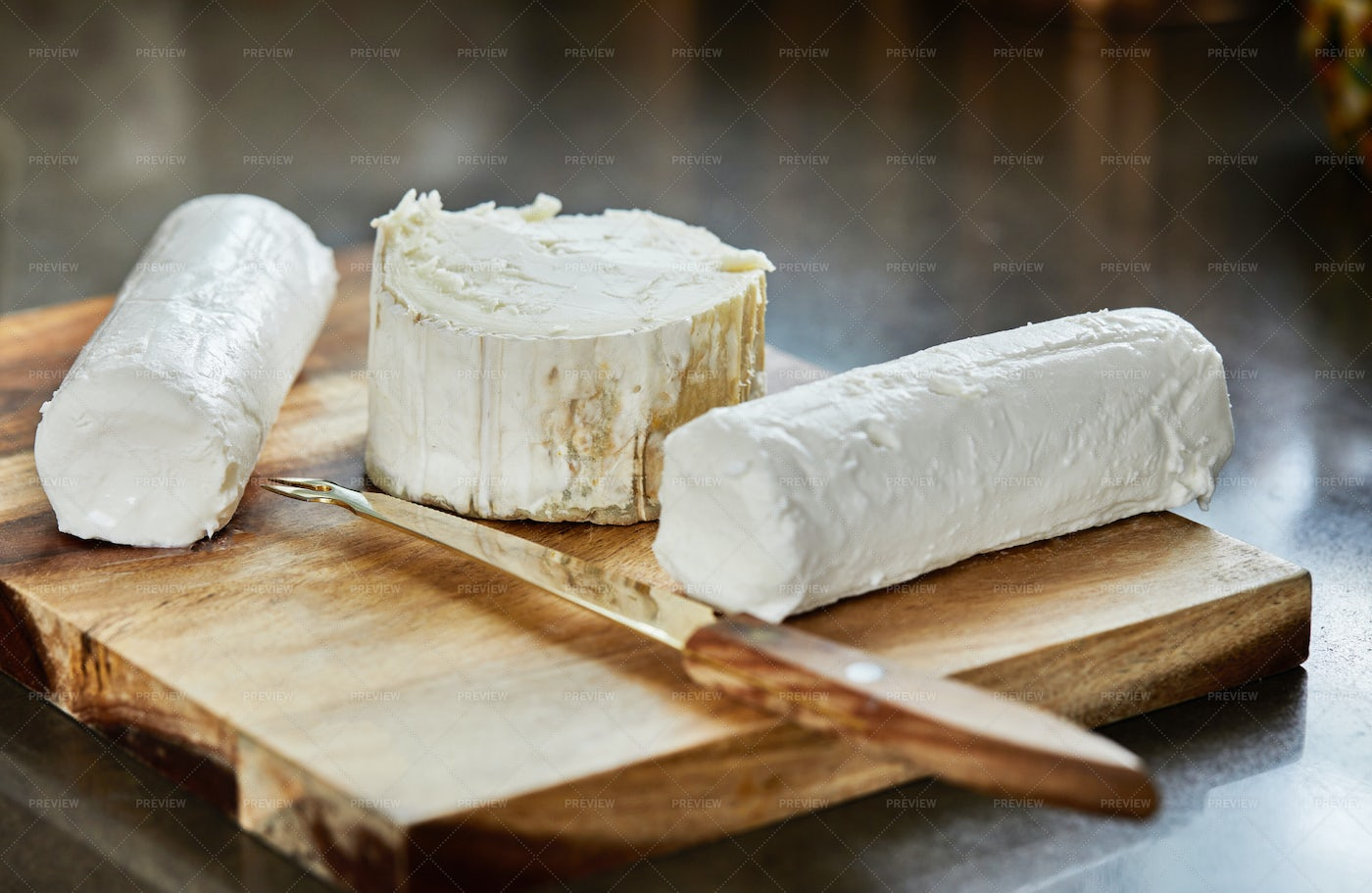 French Cheeses On Board: Stock Photos
