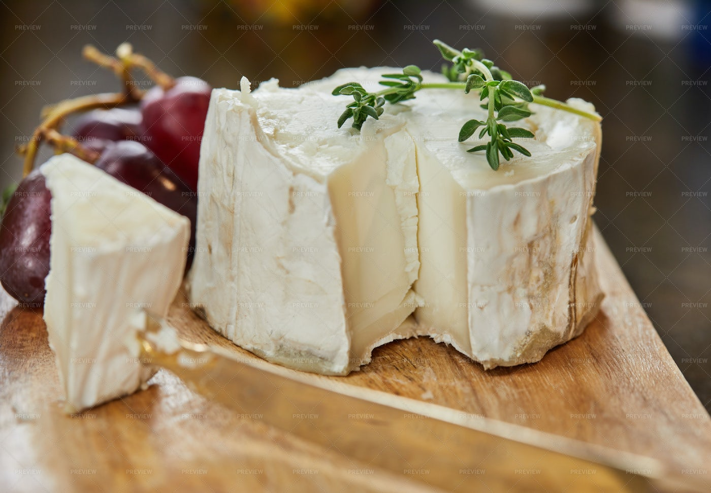 French Cheeses With Grapes: Stock Photos