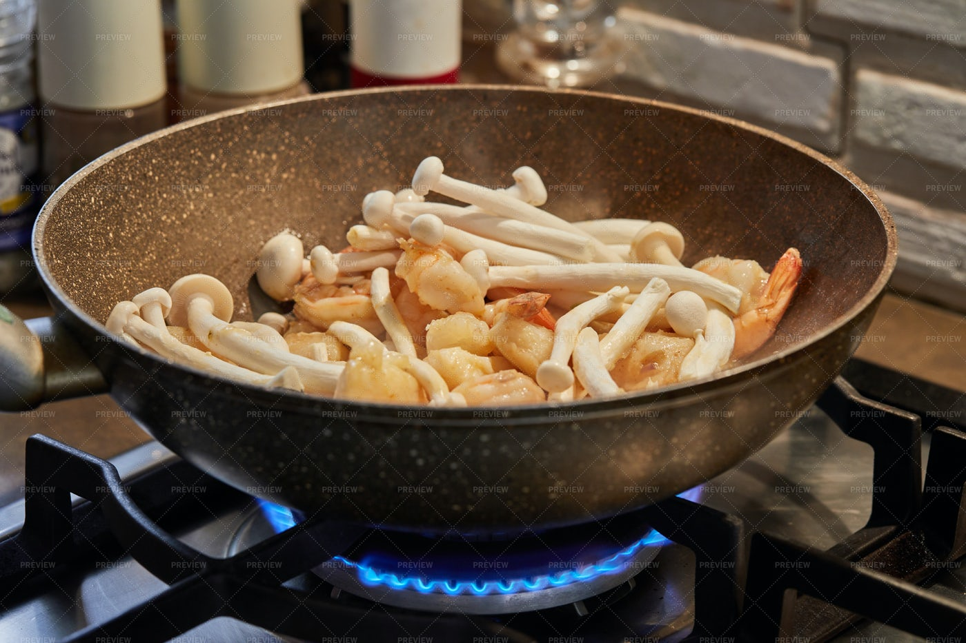 Fish With Mushrooms And Shrimps: Stock Photos