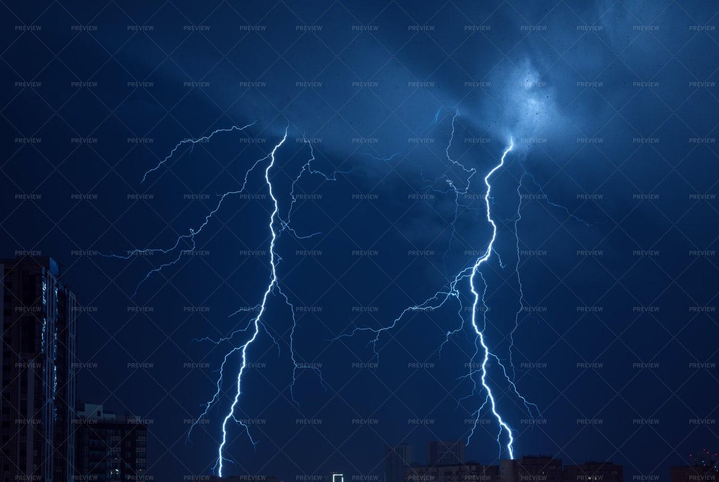 Lightning In Blue Night Sky: Stock Photos
