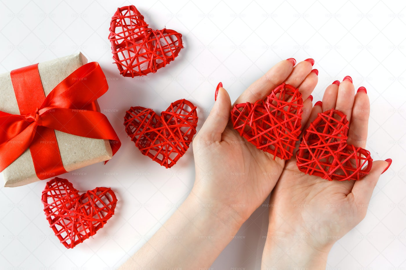 Red Heart In Hands: Stock Photos