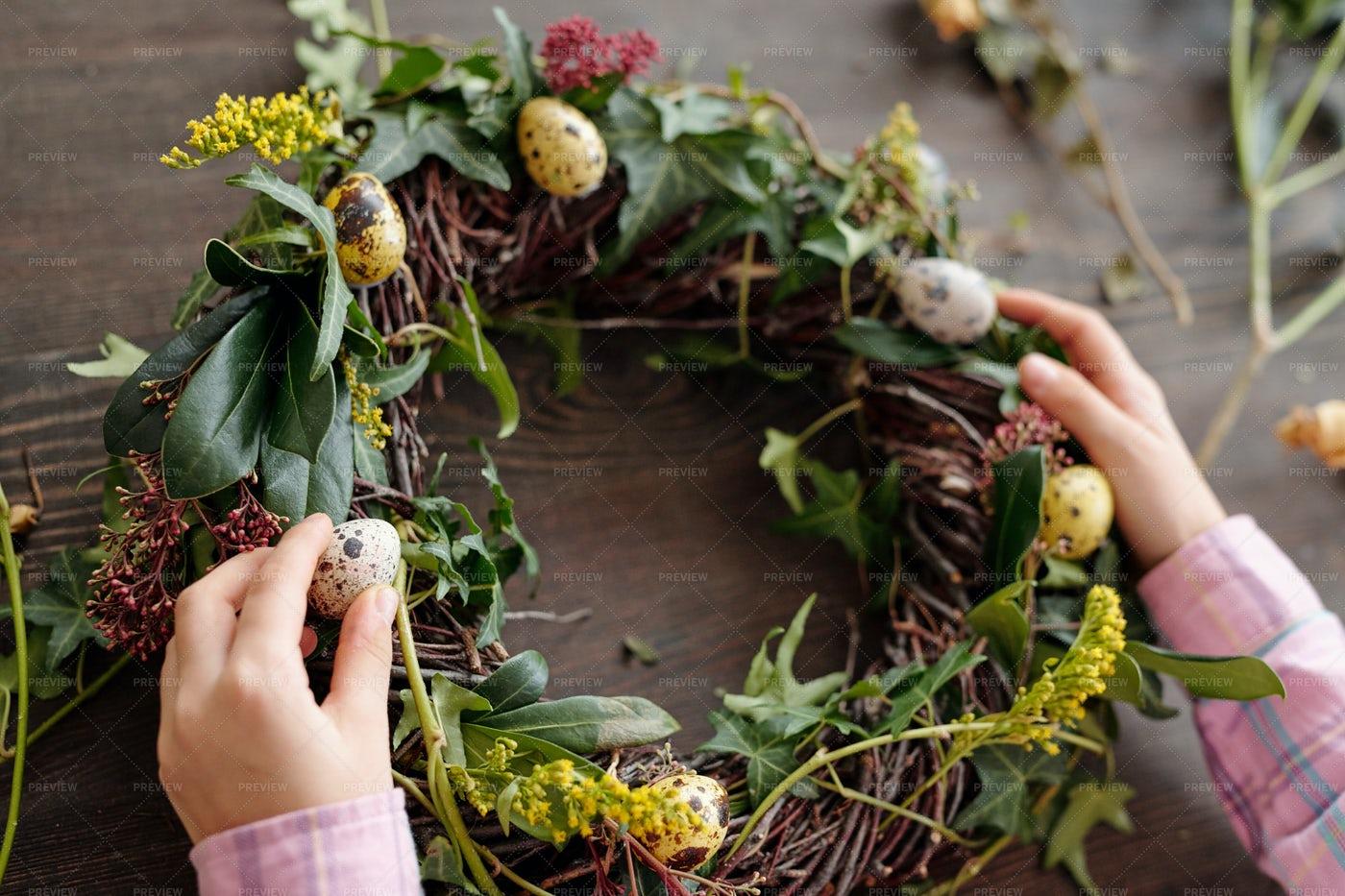 Flower Wreath With Quail Eggs: Stock Photos