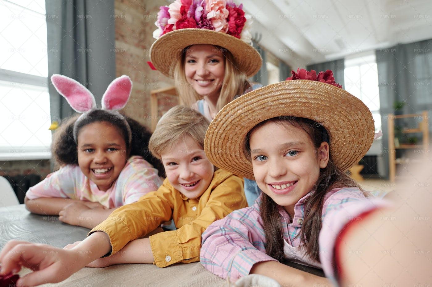 Happy Selfie Portrait Of Children: Stock Photos