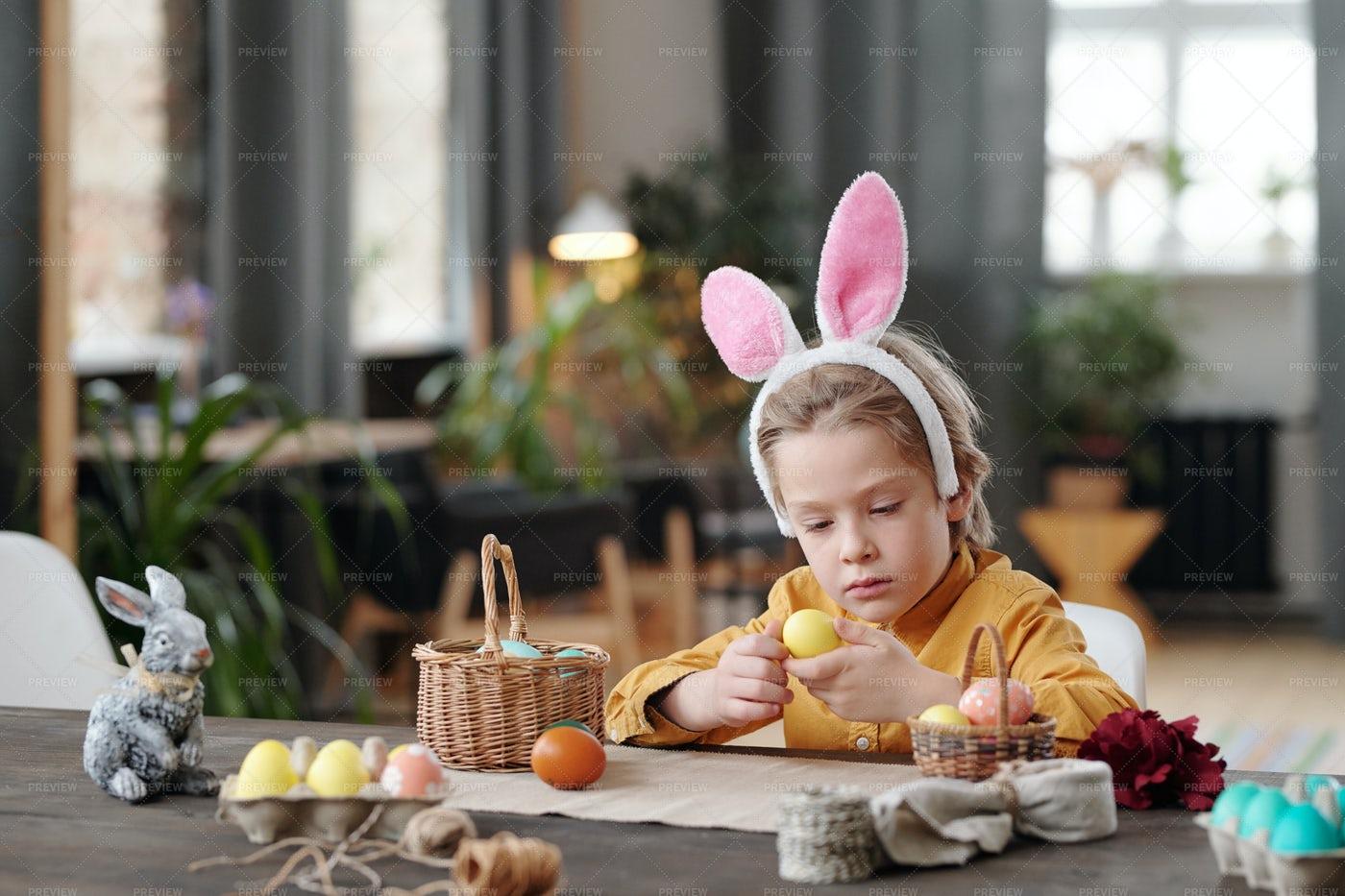 Little Boy Preparing For Easter: Stock Photos