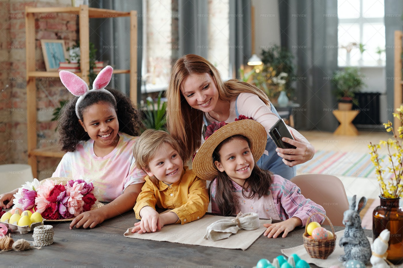 Woman Making Selfie With Children: Stock Photos