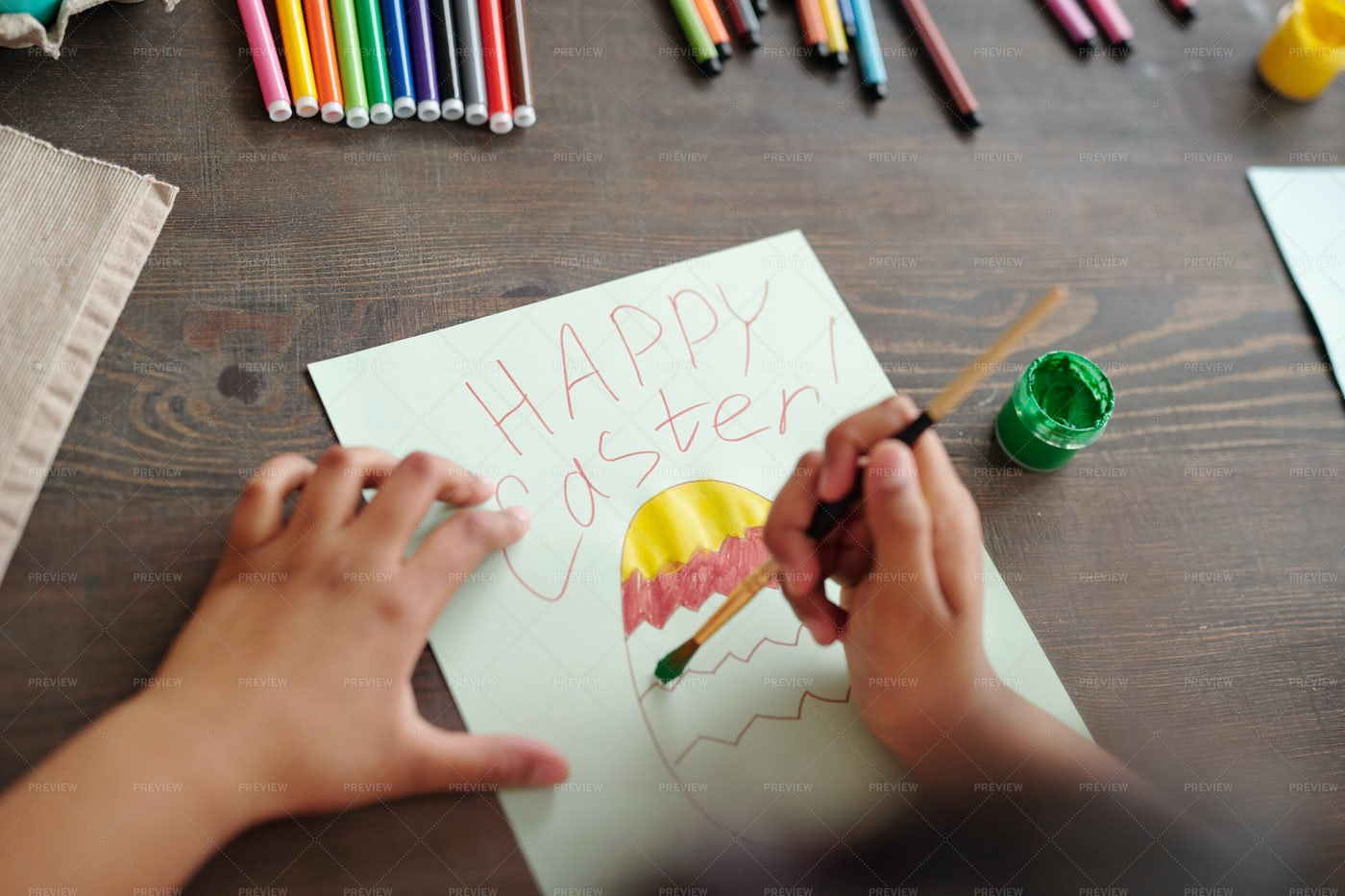 Painting A Card For Easter: Stock Photos