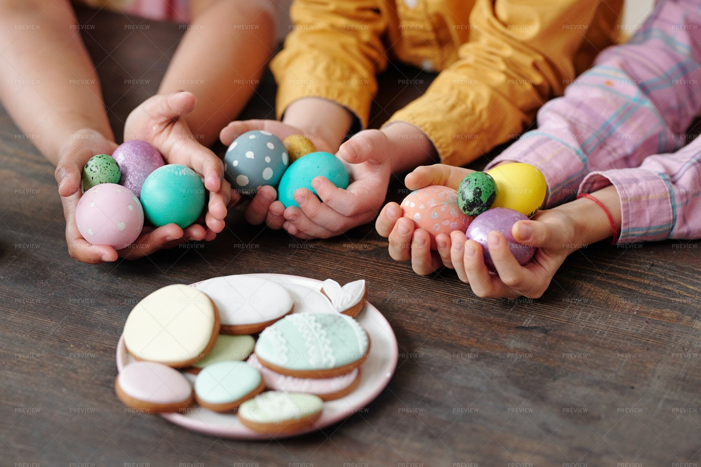 Easter Eggs And Cookies For Easter: Stock Photos