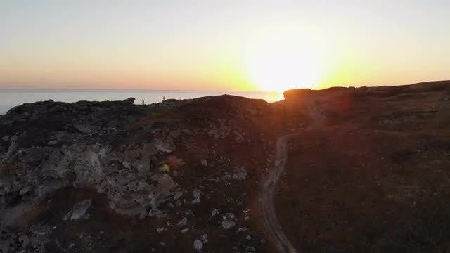 Flying Towards An Ocean Cliff: Stock Video