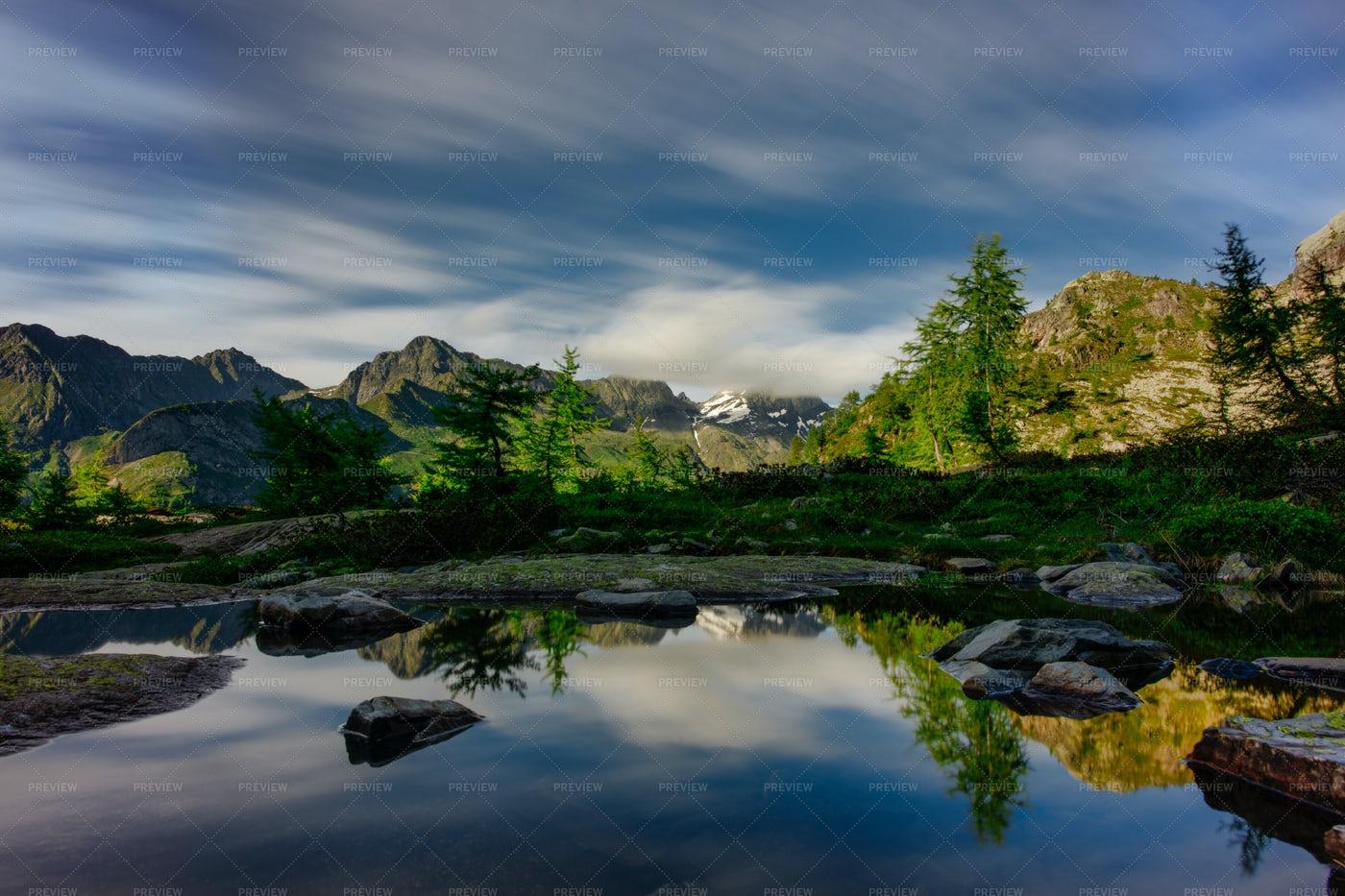 Water Mirror In Mountain Landscape: Stock Photos