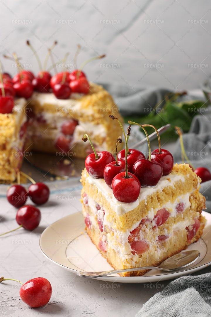 Cake With Sweet Cherries: Stock Photos
