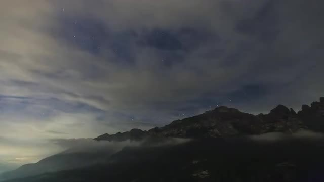Clouds, Mountains And The Milky Way: Stock Video