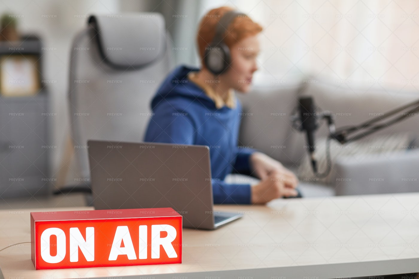 On Air Sign In Home Studio: Stock Photos