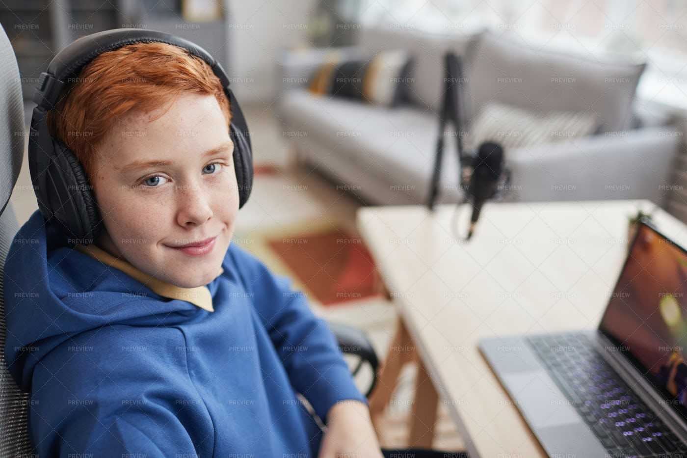 Happy Boy Playing Video Games: Stock Photos