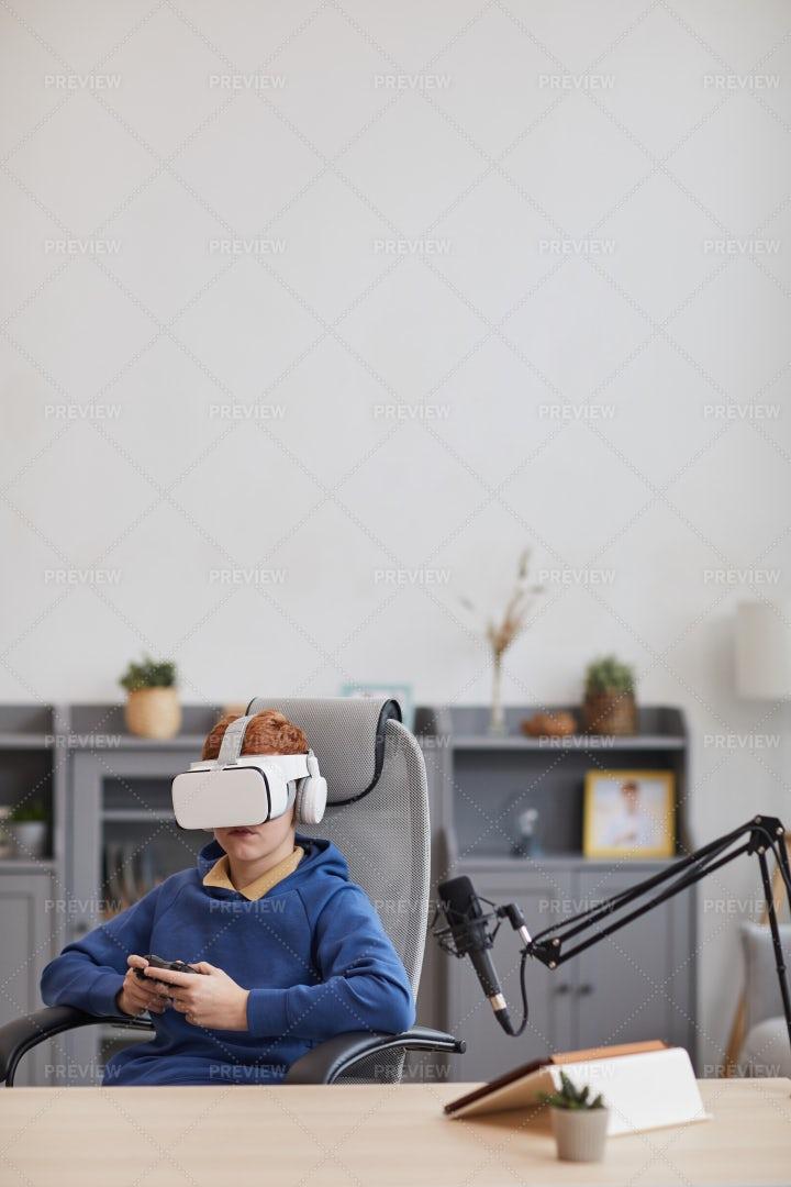 Boy Playing VR Game: Stock Photos