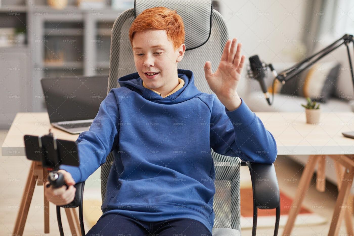 Boy Video Blogging: Stock Photos