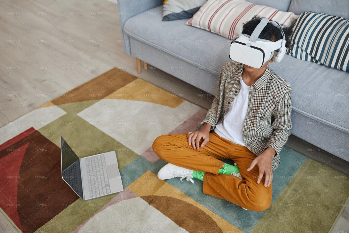 Boy In Virtual Reality Goggles: Stock Photos
