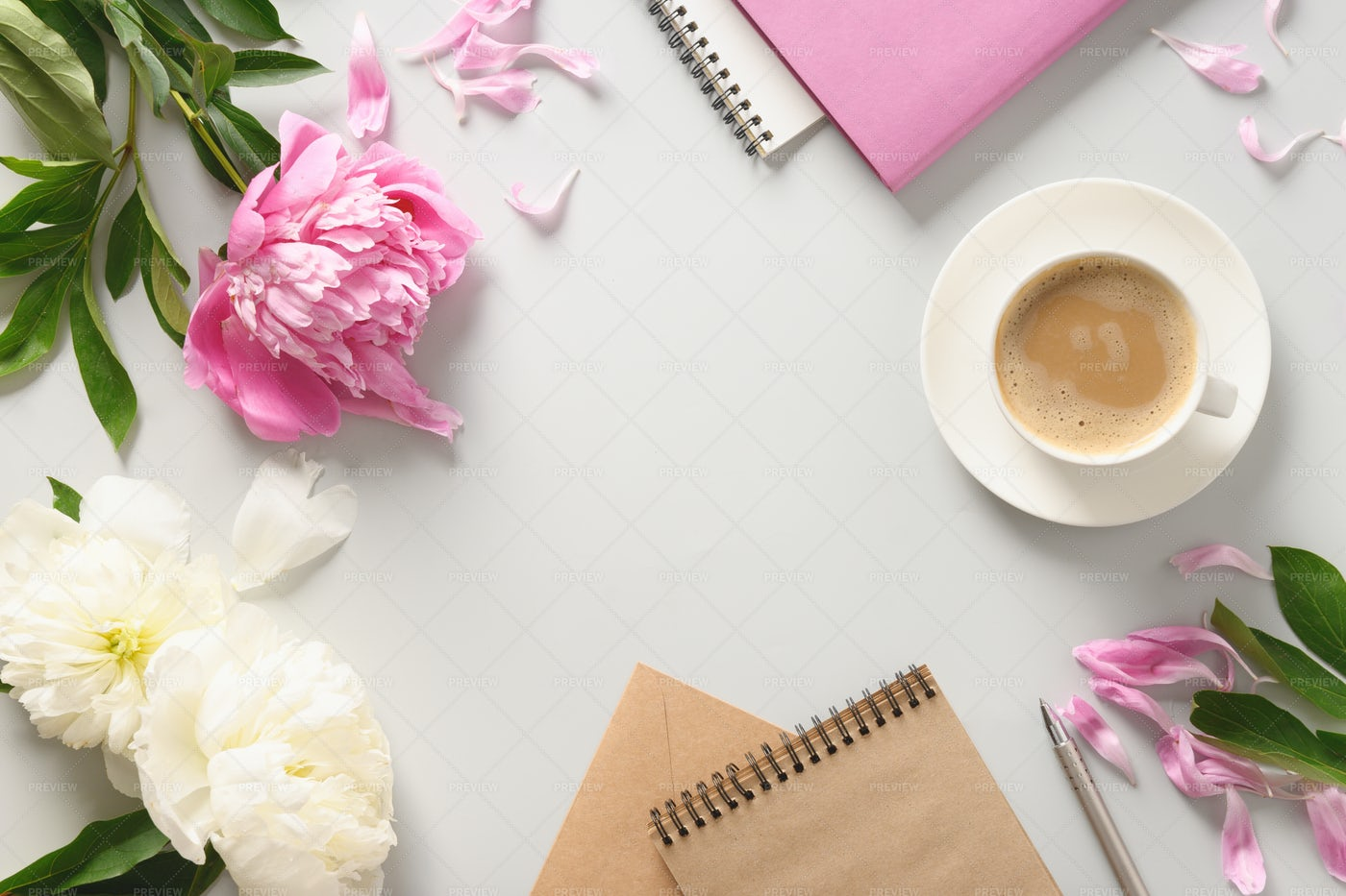 Pink Mockup With Coffee: Stock Photos