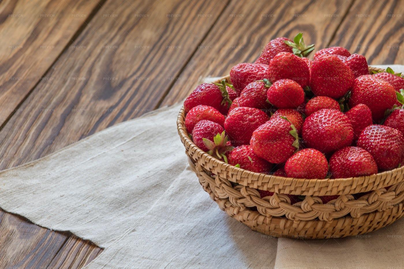 Basket With Tasty Strawberries: Stock Photos