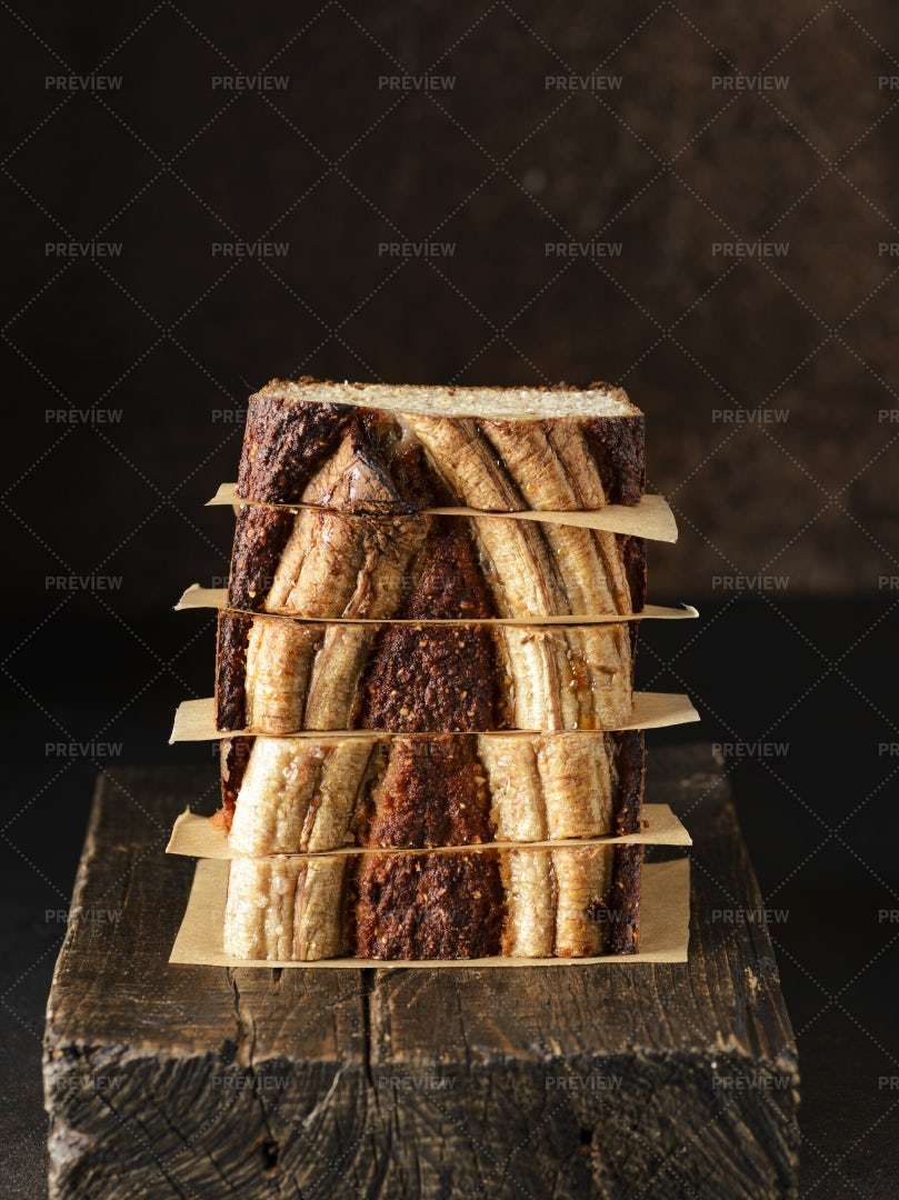 Banana Bread Slices: Stock Photos