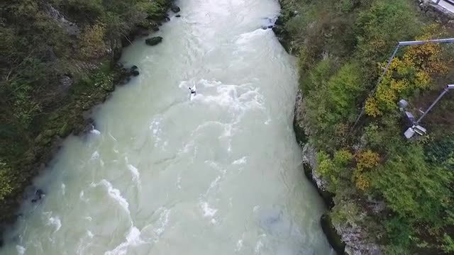 Kayaker Paddling On Vrbas River: Stock Video