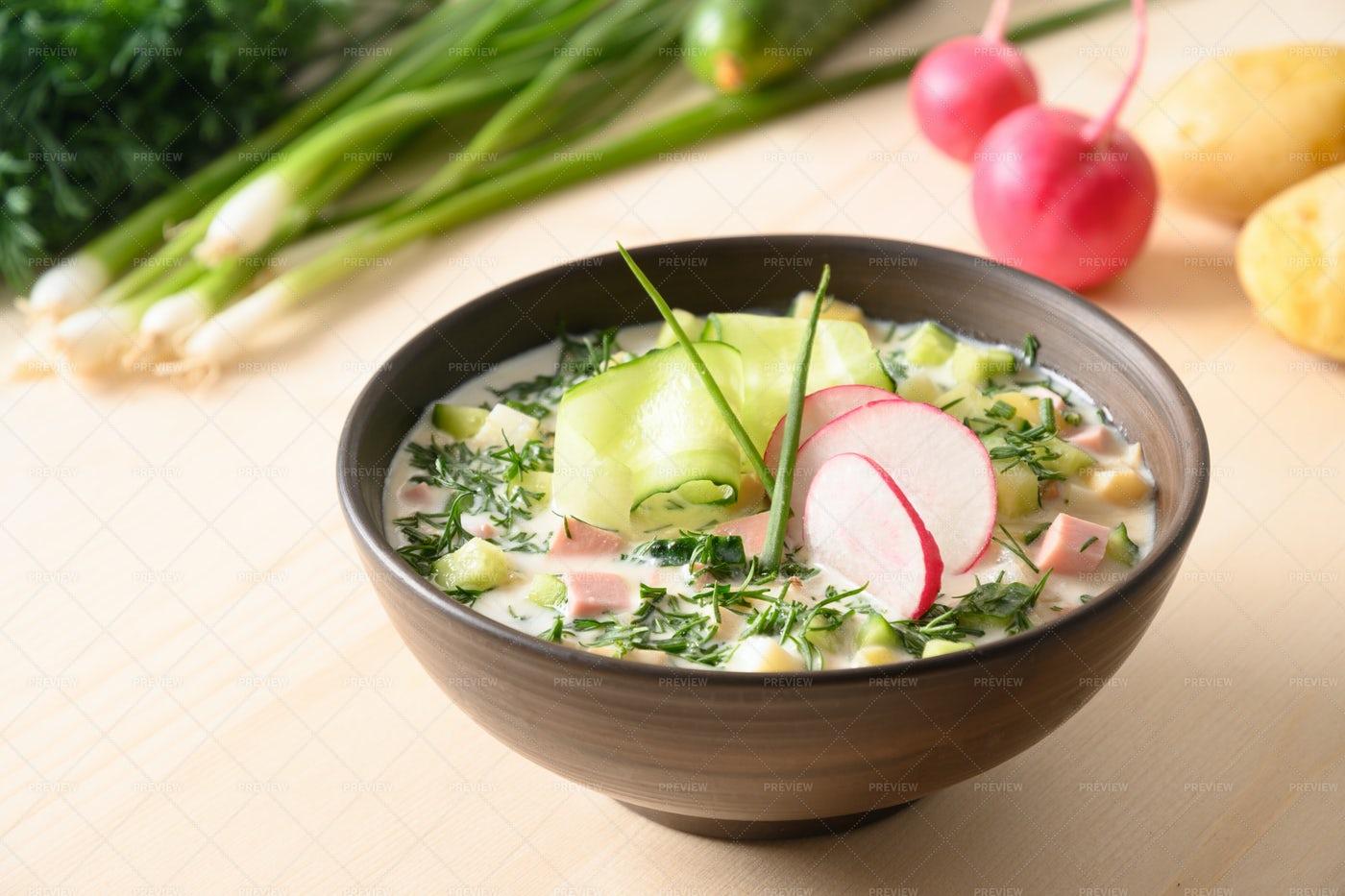 Cold Okroshka Soup: Stock Photos