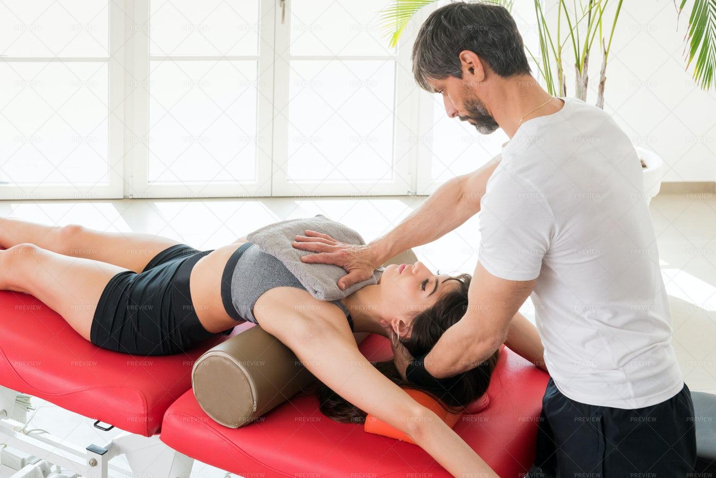 Recoil Breathing Diaphragm Treatment: Stock Photos
