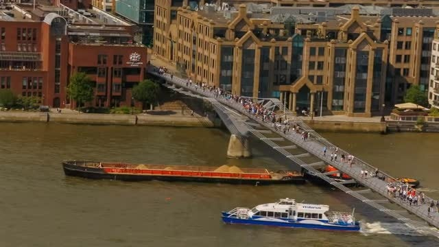 Millennium Bridge and River Thames in London: Stock Video