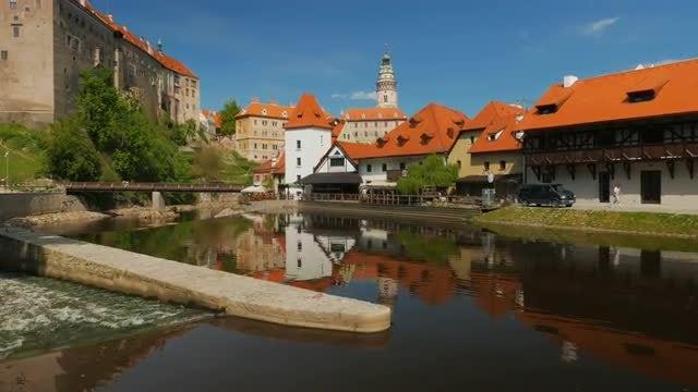 Cesky Krumlov and Vltava River, Czech Republic: Stock Video