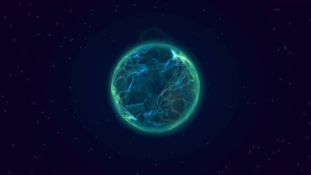 Blue Plasma Planet In Space: Stock Motion Graphics