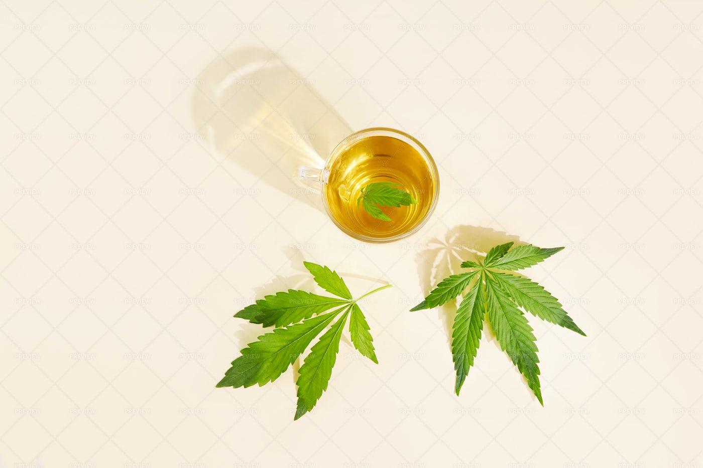 Cup Of Cannabis Tea: Stock Photos