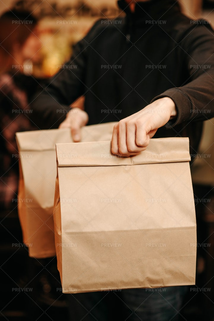 Takeaway Craft Bags With Food: Stock Photos