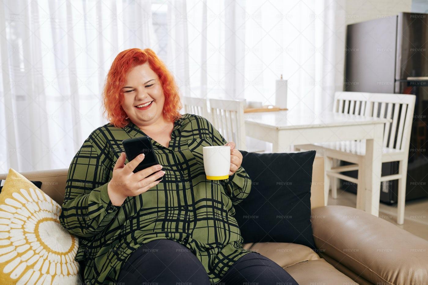 Happy Woman Texting: Stock Photos