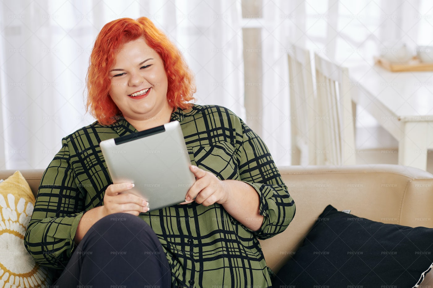 Woman Watching Comedy Movie: Stock Photos