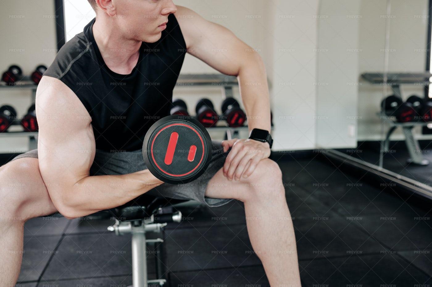 Sportsman Doing Biceps Curl: Stock Photos