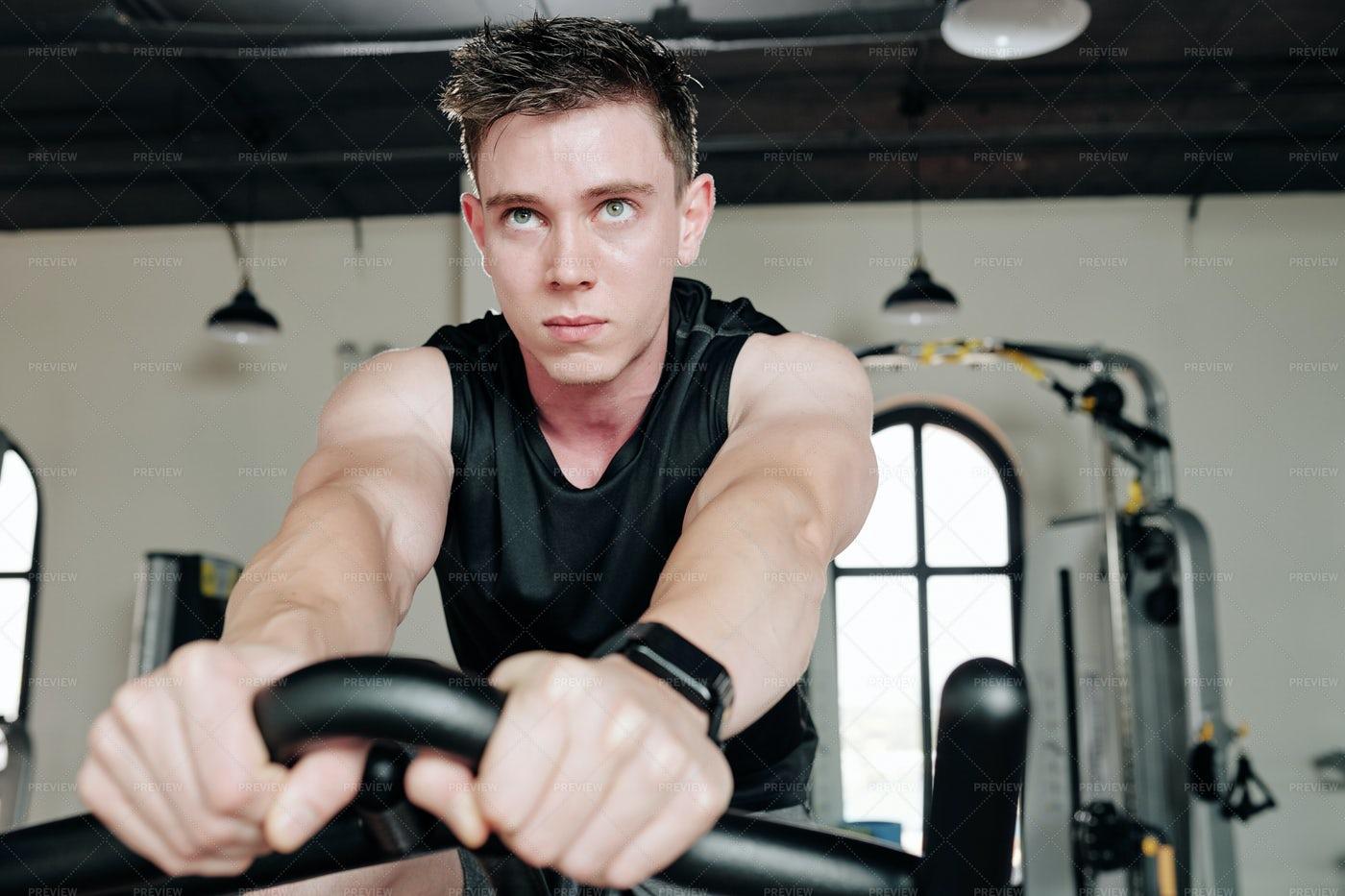 Cardio Training On Stationary Bike: Stock Photos