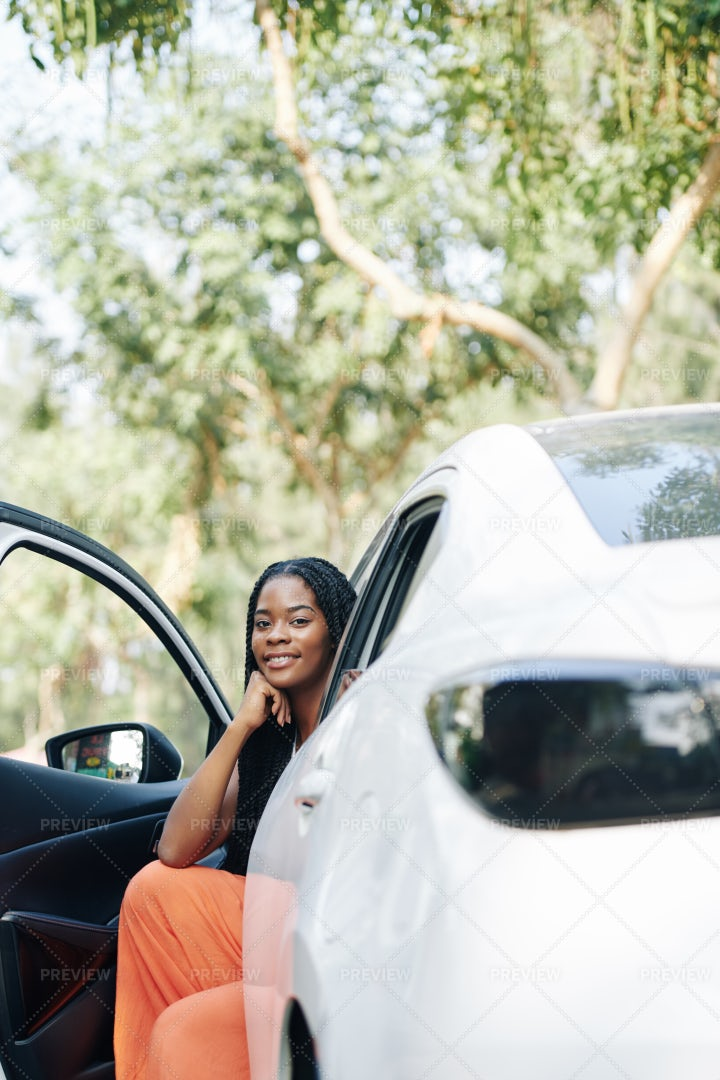 Sitting In New Car: Stock Photos