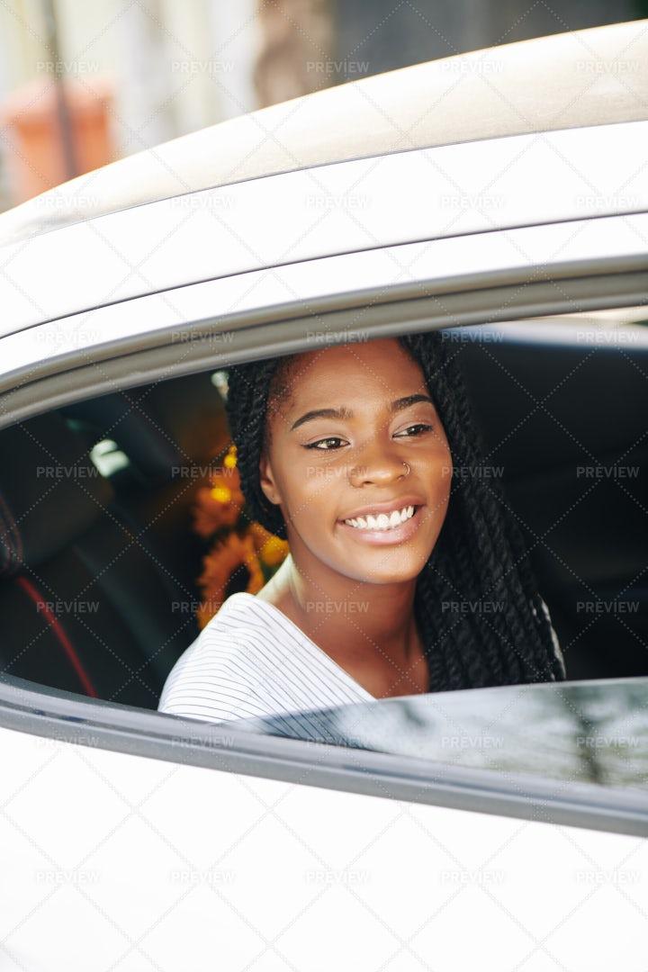 Woman Riding In Taxi: Stock Photos