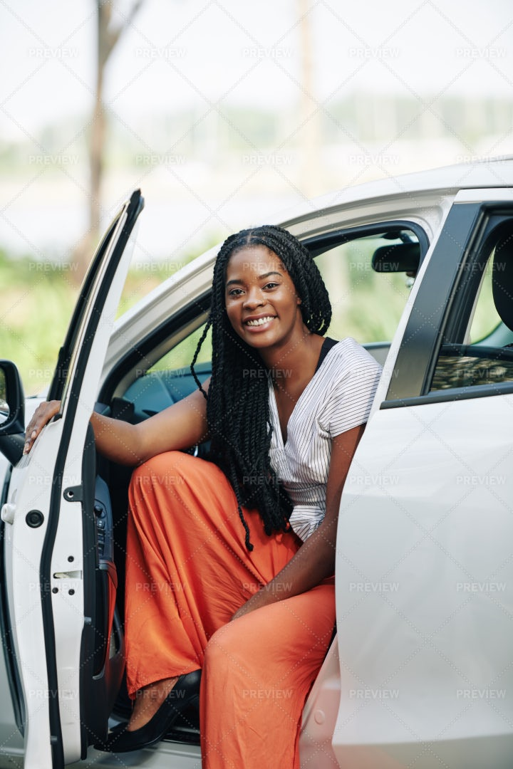 Woman Sitting In New Car: Stock Photos