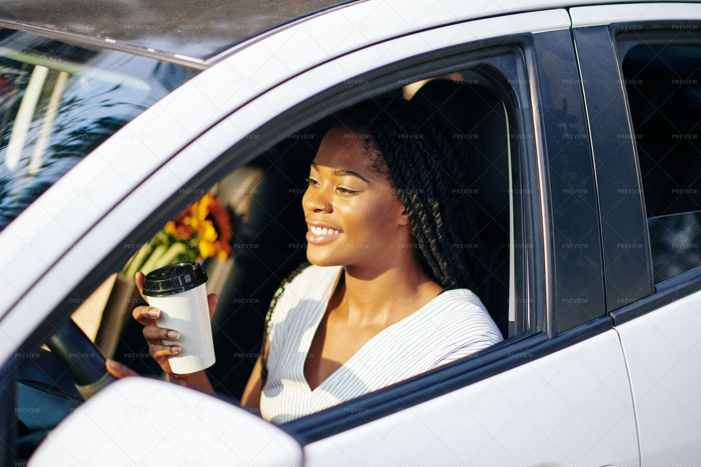 Happy Woman Driving To Work: Stock Photos