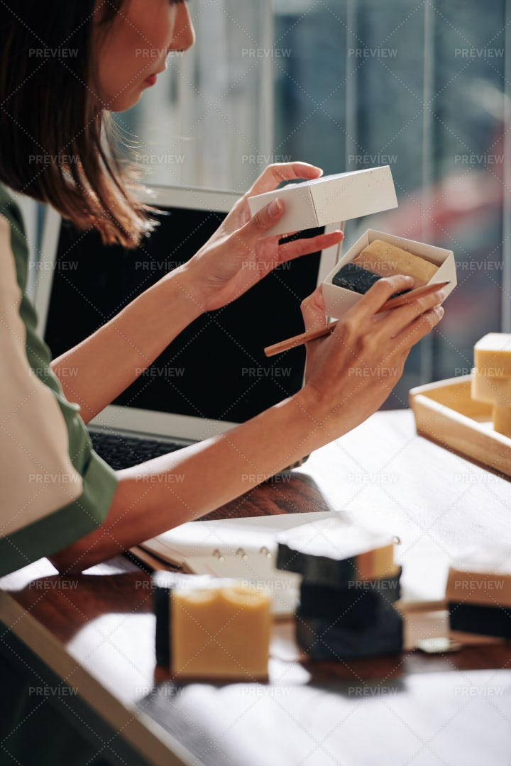 Shop Owner Packing Soap: Stock Photos
