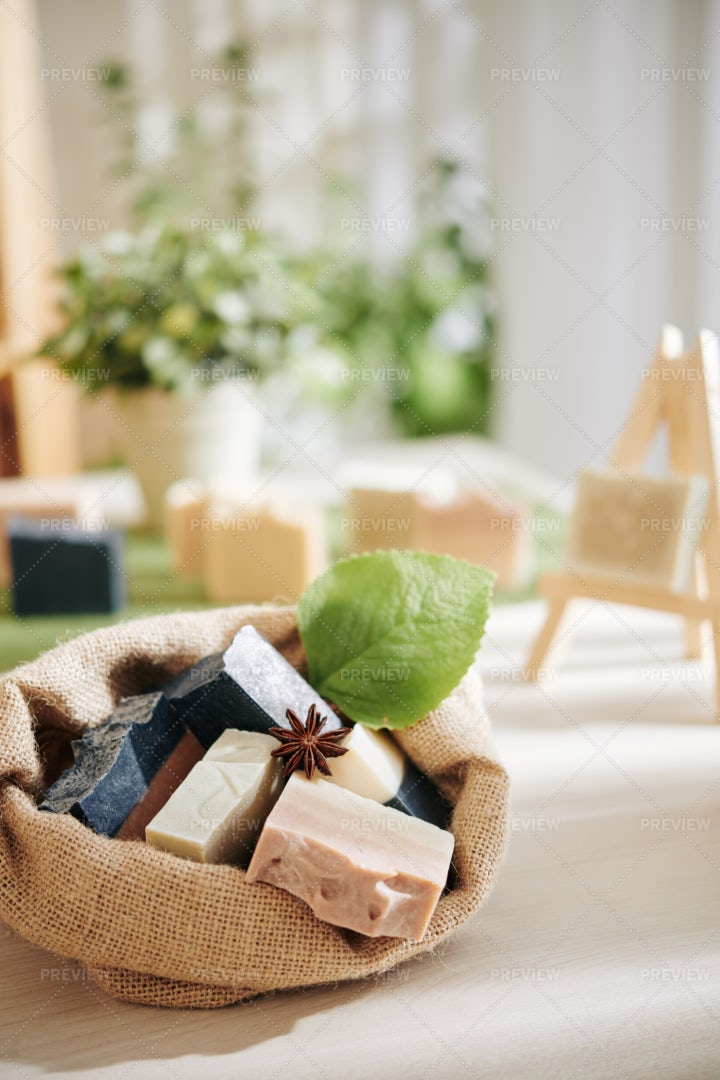 Sack With Handmade Soaps: Stock Photos