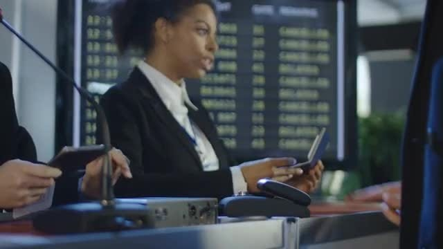 Passengers Passing Passport Control: Stock Video