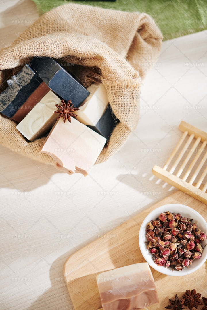 Scented Soaps And Dry Rose: Stock Photos