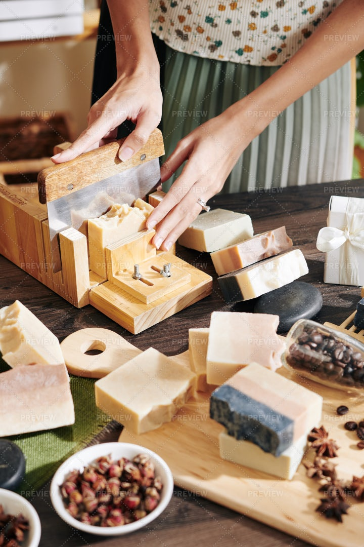 Cutting Soap Into Small Bars: Stock Photos