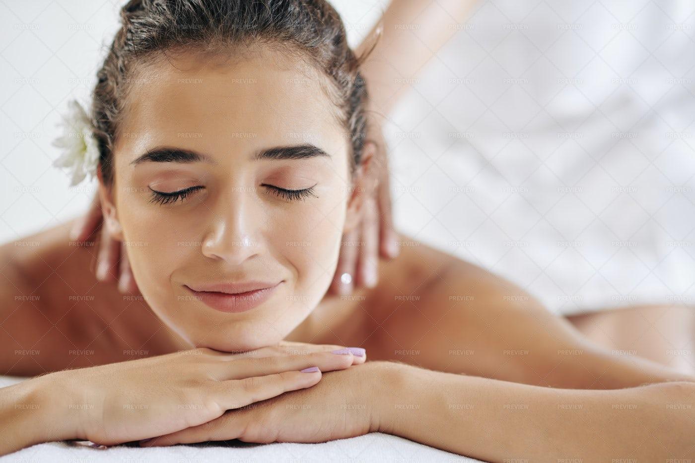Pleasure Of Getting Massage: Stock Photos