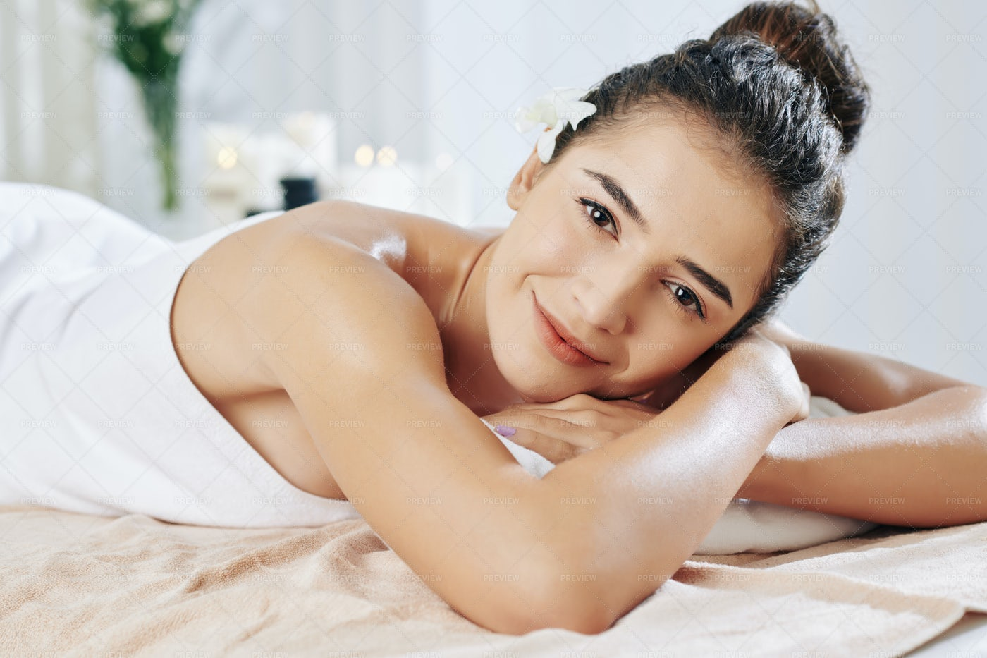 Resting After Back Massage: Stock Photos