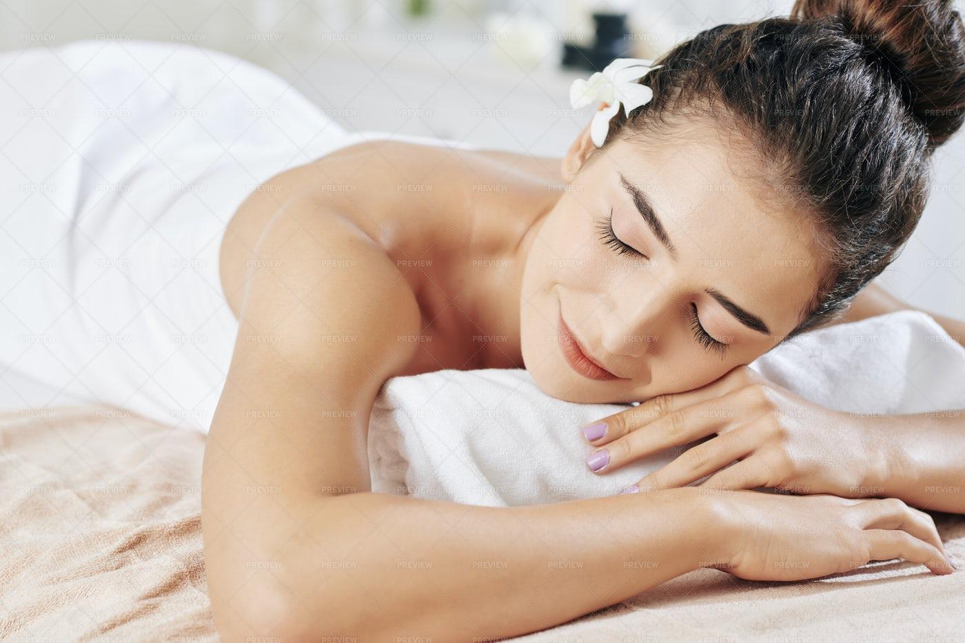 Woman Sleeping After Massage: Stock Photos