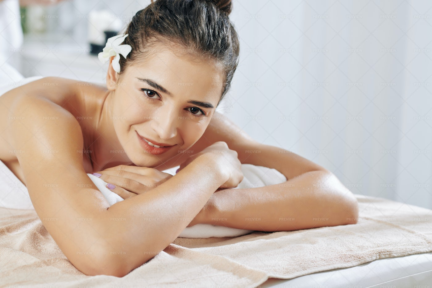 Woman Waiting For Relaxing Massage: Stock Photos