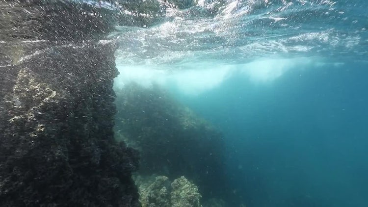 Underwater Rocks and Waves: Stock Video